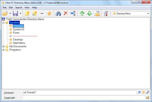 Ultra TC Directory Menu Editor screen shoot
